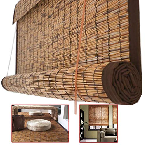 YANJ Bamboo Roll up Blinds-Window Shades-Reed Curtains Home Sunshade,Hand-woven,Partition Shade curtain,Bamboo Curtains with Lifter,Outdoor Indoor Furniture,Customizable (Size : 135x230cm/53x91in)