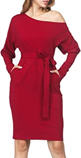 Women Sexy Long/Short Sleeve Bodycon Tunic Knit Pullover Sweater Work Casual Dress