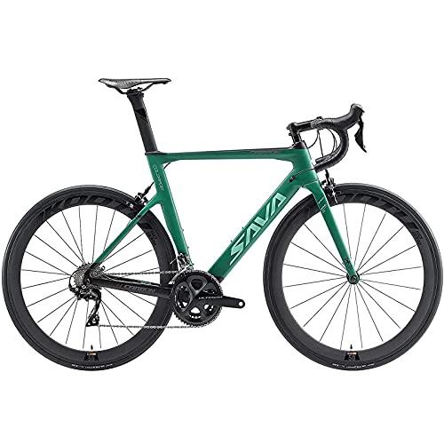 SAVADECK Phantom3.0 Carbon Rennrad 700C Kohlefaser Rennräder Vollcarbon Fahrrad mit Shimano Ultegra R8000 22 Gang Schaltgruppe Continental Reifen und Fizik Sattel… (Dunkel grün, 51cm)