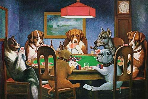 DUANGONGZI Regalo de Pintura al óleo para Adultos niños Bricolaje por números Perros Adultos del Grupo Que juegan al póker Los Mejores Regalos para Amantes, niños y Madres.-40X50CM-With Frame