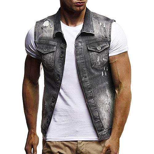 Men's Autumn Winter Destroyed Vintage Denim Jacket Waistcoat Blouse Vest Top