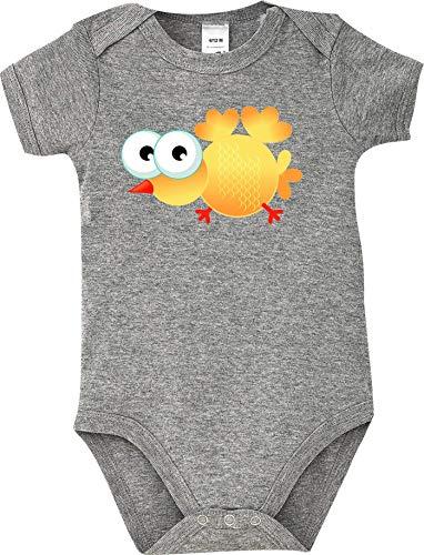 Shirtstown Body Bebé Pájaro Gorrión Bird Animales Animal Natural - Gris, 6-1-2 Monate