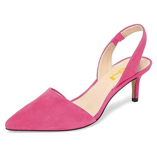 44309de3e1d FSJ Women Fashion Low Kitten Heels Pumps Pointed Toe Slingback Sandals  Dress Shoes Size 4-