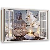 Image Panneau Déco Zen Spa Tableau décoration Fenetre Vue 3D Beige 90x60 cm