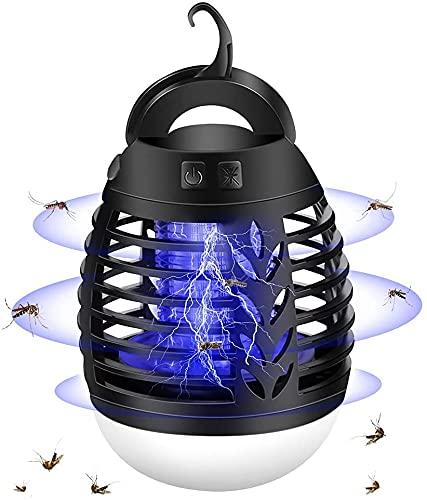Matamoscas eléctrico, 3 modos de luz, lámpara antimosquitos, portátil, recargable por USB, lámpara para interior y exterior, cocina, jardín, camping