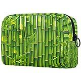 KAMEARI Bolsa de cosméticos Bambú Oriental Verde Planta Grande Bolsa de Cosméticos Organizador Multifuncional Bolsas de Vi