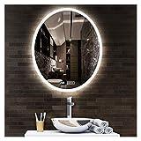 DFJU Espejo de baño Maquillaje Iluminado con LED Botón táctil de luz montado...