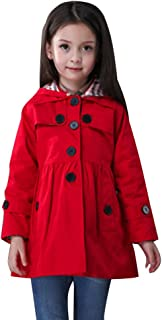 Little Girls A-line Single Breasted Hooded Cotton Trench Coat Jacket