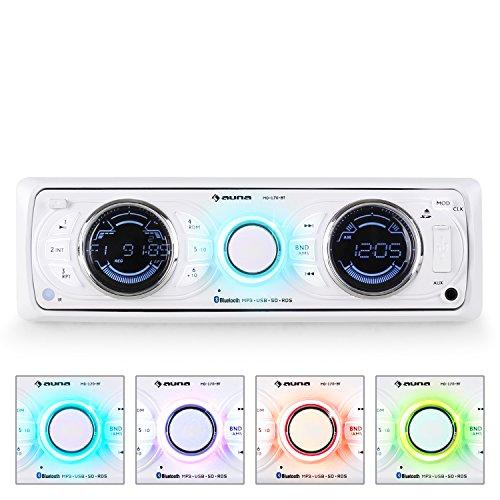 auna MD-170-BT Radio para Coche (Bluetooth USB SD MP3, WMA y WAV, 4x75W Potencia máxima, Am/FM, Control Remoto, Panel Extraible,Pantalla, Etiquetas ID3) - Blanco