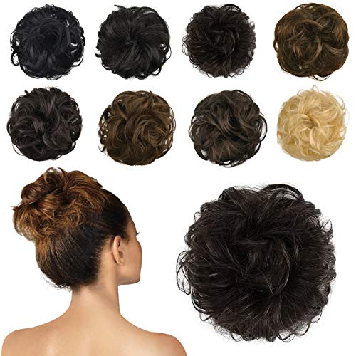 FESHFEN 100% Human Hair Bun Extension Messy Bun Hair Piece Curly Hair Scrunchies Bun Extensions for Women Girls Updo Donut Hairpiece Brown