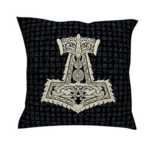 CCMugshop Scandinavisch viking-oorlogger, hamer, draak, Keltisch knoop, tatoeage, katoen, linnen, decoratief, werp, kussenslopen, ademend, kussensloop voor outdoor geschenken