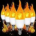 YEAHBEER E12 Flame Bulb LED Candelabra Light Bulbs,1.2 Watt Warm White LED Chandelier Bulbs,1800k Non-Dimmable Candle Light Bulbs, Flame Tip,3 Modes/Pack of 1