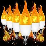 YEAHBEER E12 Flame Bulb LED Candelabra Light Bulbs,3 Modes Flame Lights Bulbs,1.2 Watt Warm White LED Chandelier Bulbs- for Festival/Hotel/ Valentine's Day Decoration(6 Pack)