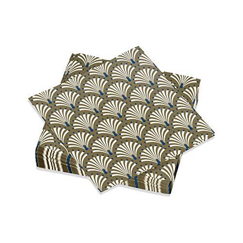 Le Nappage - Servietten mit Pfau-Dekor Gold/blau - Papierservietten aus Reiner Zellstoffwatte - Retro-Pfauendekoration Pfau - Set mit 20 kleinen Servietten Aperitif Größe 25 x 25 cm