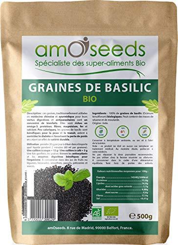 Graines de Basilic Bio 500G   Exclusivité Française   Perte de Poids, Digestion, Détox, Peau   Similaires aux Graines de Chia   Qualité Supérieure