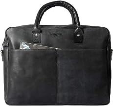 HOLZRICHTER Berlin - Briefcase M Premium Aktentasche aus Leder - Handgefertigte Große Laptoptasche - Ledertasche für Herren und Damen - schwarz-anthrazit