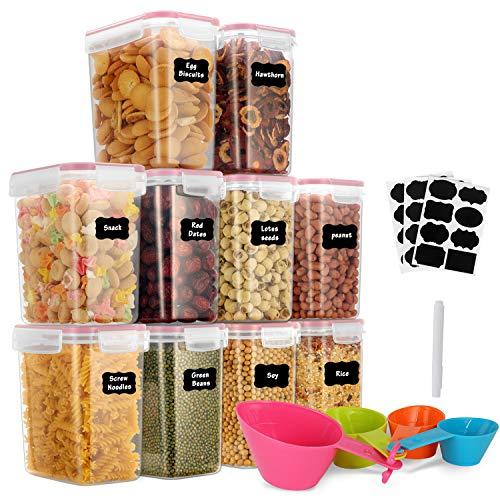 GoMaihe 1.6L Botes Cocina, Juego de 10 Piezas de Recipiente de Botes Cocina Almacenaje de Plástico de Alimentos Sellados con Tapa, Se Utiliza para Almacenar Cereales, Pasta, Arroz, Harina, Rosado