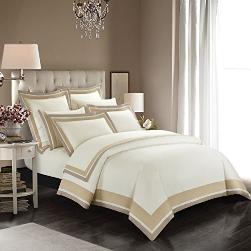 Casabolaj Shading 3 Pieces Do Not Include Filling Duvet Cover Set 100% Egyptian Cotton Sateen Luxury...