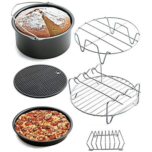 Pkfinrd Air Fryer Accessoires Set van 6 Incl. Cake Mold,Pizza Pan, Metalen Houder, Skewer Rack, Brood Plank, Siliconen Mat Past op alle 5.2-5.8QT 8Inch