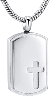 Cross Cremation Pendant Necklace Stainless Steel Dog Tag Commemorative Jewelry for Pet/Human Ashes Memorial Urn Necklace -...