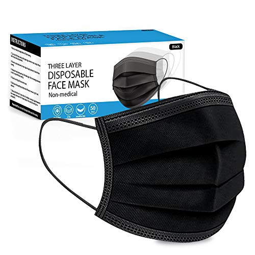 Merrimen Disposable Mask, 50 Count 3 Ply Disposable Breathable Face Masks Elastic Earloop Woven Masks Nose Mouth Cover - BLACK
