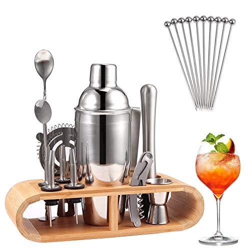 COLFULINE Edelstahl Cocktail Shaker, 23-Teiliges Cocktail Set Barkeeper Set Cocktailset mit 750 ML Cocktailshaker, Bessere Bambus Ständer, Rezeptbuch, Messbecher und LöffeHolzständer für Zuhause/Bar