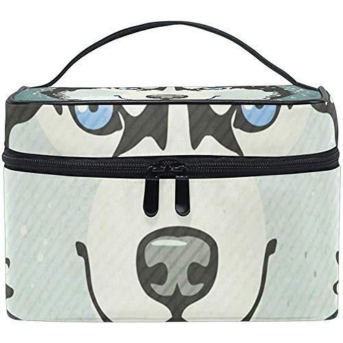 Affiche d'hiver avec sac cosmétique Husky voyage maquillage train cas stockage organisateur