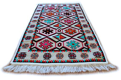 Damaskunst - Alfombra hecha a mano, 65cm x 120cm, fibra sintética chenilla de poliéster, Multicolor