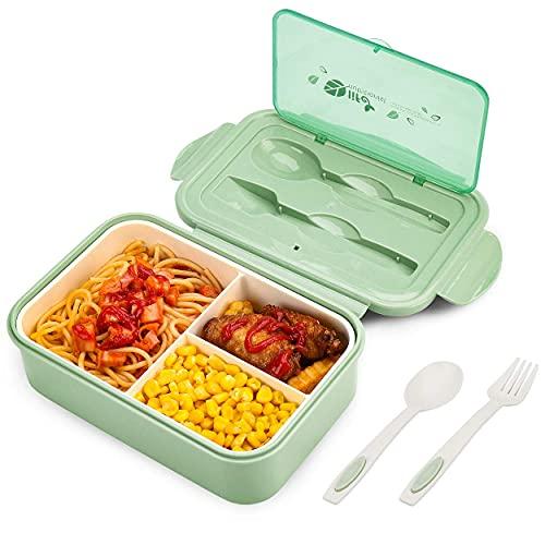 BIBURY Fiambrera, caja bento a prueba de fugas para niños adultos, recipiente para alimentos con 3 compartimentos y juego de cubiertos, lonchera comidas aptos para microondas y lavavajillas (Verde A)