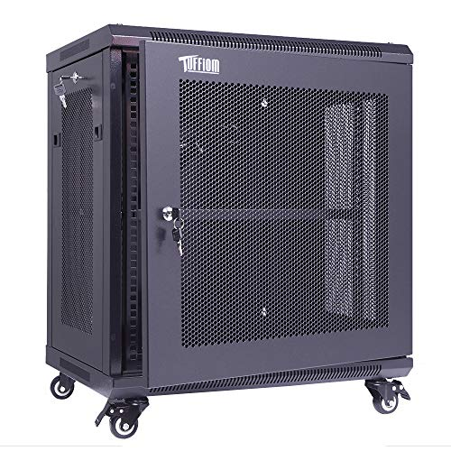 TUFFIOM 12U Casters Network Enclosure, 19 Inch Consumer Series Server Equipment Rack, Computer Date IT Network Cabinet Include 3 Side Panel Locks, Cooling Fan, No Assembly Required