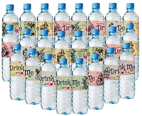 Alice im Wunderland Flaschentücher - 24 Alice Wasserflaschen-Etiketten - 8 verschiedene tolle Layouts