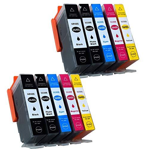 Karl Aiken 10 x HP 364 XL compatible Cartuchos de Tinta para HP 364 XL de repuesto para Photosmart 5510, 5511, 5512, 5514, 5515, 5520 et2210ints-b010 a B8550 C5370 Deskjet 3070 A Impresora