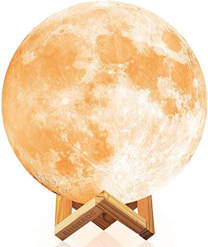 Ehobroc Moon Lamp, 3D Printing Moon Globe Light 5.9 Inch Glowing Moon Lamp Tap Change 3 Colors...