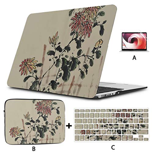 Case Macbook Pro 15 Chinese Culture Traditional Ink Painting Flowers Macbook Air 2017 Case Hard Shell Mac Air 11'/13' Pro 13'/15'/16' With Notebook Sleeve Bag For Macbook 2008-2020