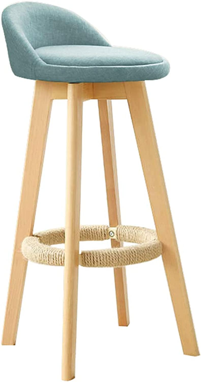 Furniture bluee Bar Stool Modern Style Bar Chair for Kitchen Breakfast redating Stool Wooden Legs (Sitting Height  73CM)