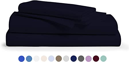 Comfy Sheets 100% Egyptian Cotton Sheets - 1000 Thread Count 4 Pc King Navy Blue Bed Sheet with Pillowcases,Hotel Quality Fits Mattress Up to 18'' Deep Pocket.