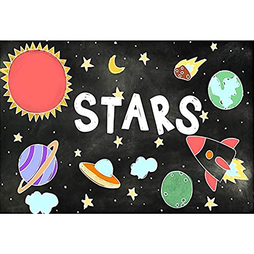 DORCEV Photography Backdrop of Stars Space Theme Birthday Party Background Universe Planet Spaceship Astronomy Spaceman School Activity Pupils Shoots Video Props