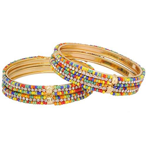 Efulgenz Bollywood - Juego de 4 pulseras de perlas de cristal de imitacin chapadas en oro tradicional estilo indio