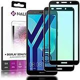 NALIA (2-Pack) Schutzglas kompatibel mit Huawei Y5 2018, 9H Full-Cover Bildschirm Schutz Glas-Folie, Dünne Handy Schutzfolie Display-Abdeckung, HD Schutz-Film Screen Protector - Transparent (schwarz)