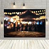 Noche Ciudad Brillo luz Bokeh Lunares fotografía Baby Shower Fondo Piso de Madera Fondo Estudio fotográfico decoración Prop Vinyl-250x180cm