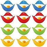 AUXSOUL 12 Stücke Eier Kochen, Silikon Eierkocher Tassen Silikon Egg Poacher Molds Eier Pochierer Eier Dampfgarer für Eierpfanne, Kochgeschirr