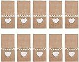 Portaposate in tela, 10 pezzi bustina tasca porta forchetta coltello in juta pizzo per decorazioni tavola rustica per festa di natale(Portaposate Colore originale a forma di cuore)