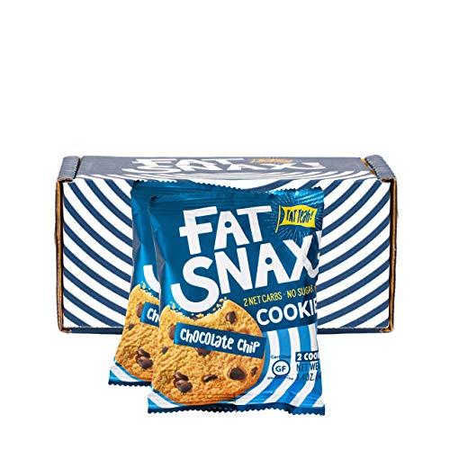 Fat Snax Cookies - Low Carb, Keto und Zuckerfrei (Chocolate Chip, 6-Pack (12 Cookies)) - Keto Freundlich & Glutenfreie Snacks