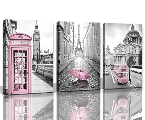 Eiffel Tower Decor for Bedroom for Girls Paris Decor Pink Paris Theme Room Decor Wall Art Canvas Black and White Art Large Travel Pictures Decorations London Big Ben Tower Painting Framed 24x36inchx3