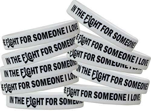 In The Fight For Someone I Love Lung Cancer, Mesothelioma, Bone Cancer, Lung Disease Wristband Bracelet 10-Pack (Pearl/White)
