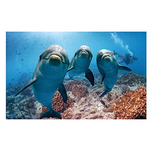 huj 3D Delfin-Muster Aquarium Hintergrund Aufkleber Fish Tank Dekoration Poster
