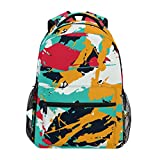 Custom School Boys Girls Color Splashes Smudges Fashion Durable Patterned Polyester Backpack Unisex