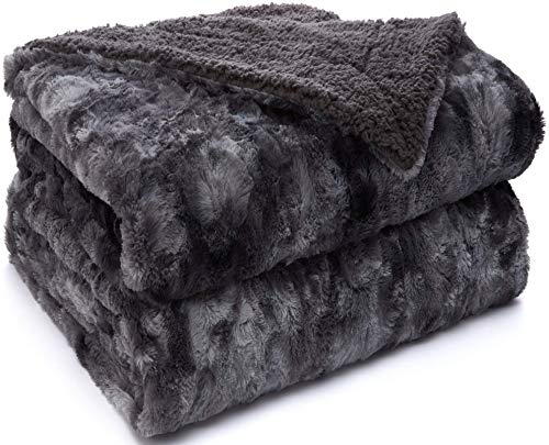 The Original Sherpa Company Luxury Throw Blanket, 65x50 Size, Super Soft Reversible Faux Fur Underside, Warm Hypoallergenic Blankets, Wrinkle Resistant Washable Throws for Home, Bedroom, Tie Dye Gray