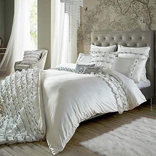 RITA ORA Medina Oyster Satén plisados lentejuelas tamaño king (funda de edredón de 230 cm x 220 cm) 6 piezas juego de cama