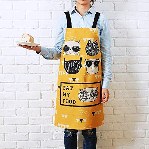 YXDZ Grembiule di Cotone E Lino Simpatico Cartone Animato da Uomo E da Donna Moda Cucina da Cucina in Vita da Forno Ristorante Tuta da Bagno A Prova di Olio Abito da Donna Giallo 2 92 * 92 Cm